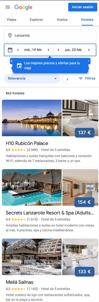 Hoteles en Google