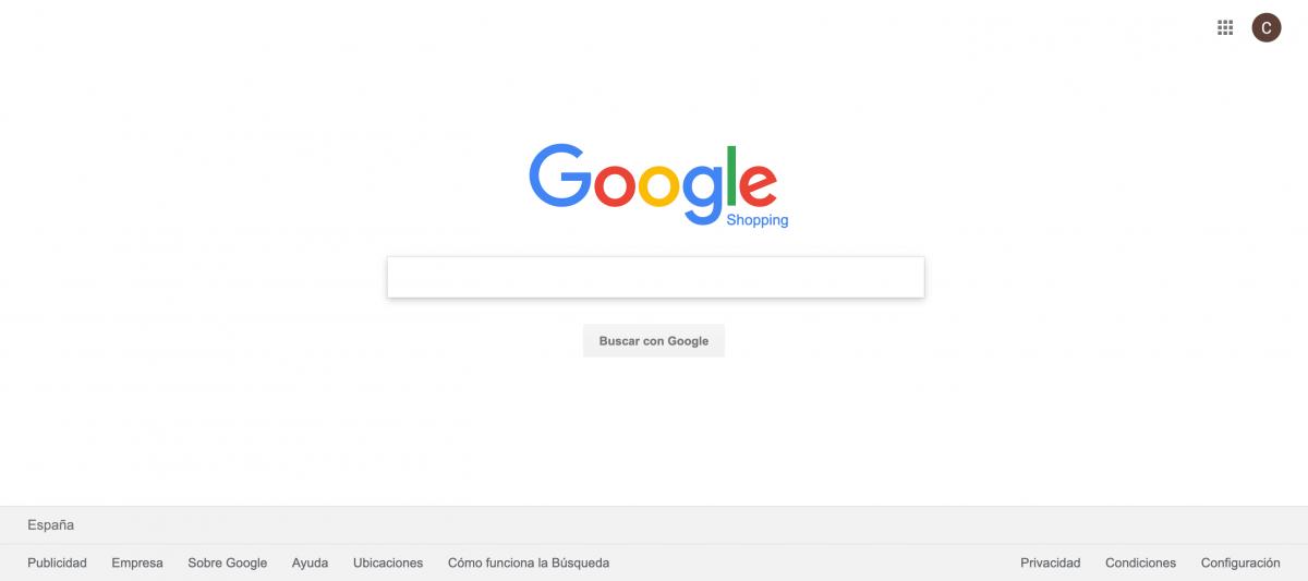 Google Shopping cuadro de búsqueda